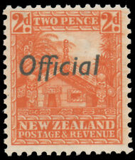 NEW ZEALAND 1942 2p RED ORANGE OFFICIAL PERF 12½ MNH #O64a from bottom right in