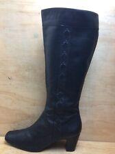 K shoes Ladies Black Leather Knee High Zip Boots Size UK 7 E EU 41