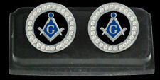 Masonic Silver Plated Cuff Links - Blue Black and Silver with Austrian Crystals