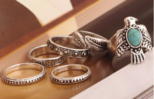 6-Piece Ring Set, Eagle Bird, Boho Hippie Gypsy, Tribal Southwestern Style