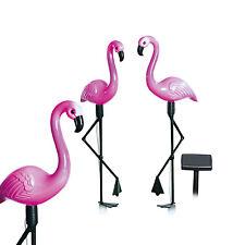 solarzauber Solarleuchten Lampen Solar Deko Pink Flamingos 3er Set Garten LED