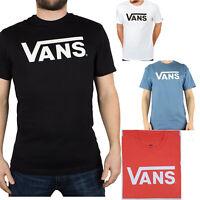 Mens Vans T-Shirt Classic Black White Blue Shirt Print Short  XS,S,M,LG,XL XXL