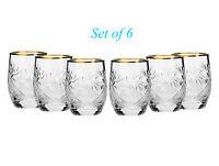 Set of 6 Cut Crystal Shot Glasses Vodka Cognac Liquor 1.7oz Gold Rim Hand-Made