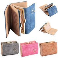 Neu Damen Mini Leder Handtasche Button Clutch Portemonnaie Geldbörse Portmonee^,