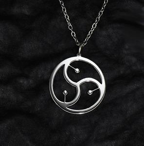 Unisex BDSM Symbol Pendant Necklace - Triskelion in Circle - UK Stock