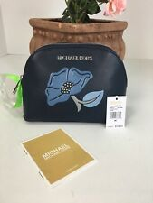 New Michael Kors Cosmetic Bag Nouveau Floral Travel Pouch Denim Blue $148 M1