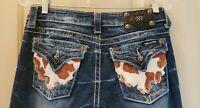 Women Miss Me Boot Cut Denim Jeans Size 27X34 Cow hide hair on pockets