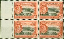 More details for dominica 1938 2s6d black & vermilion sg107 v.f mnh block of 4