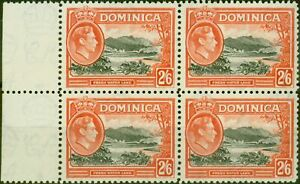 Dominica 1938 2s6d Black & Vermilion SG107 V.F MNH Block of 4