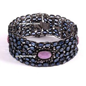 Natural Ruby Kyanite Gemstone Pave Diamond 925 Sterling Silver Bracelet 15