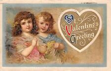 VALENTINE HOLIDAY CHILDREN EMBOSSED WINSCH POSTCARD 1912