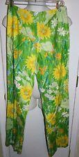 Vintage LA SHACK CESTARO Green yellow Floral Pants Size 14