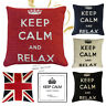 "KEEP CALM CARRY ON / RELAX Chenille Filled Cushions or Cushion Covers- 18"" /45cm"