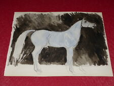 [EQUITATION CHEVAUX HORSES] DESSIN ORIGINAL ANCIEN AQUARELLE water color (29)