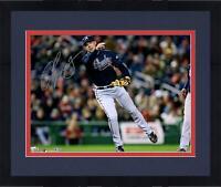 "Framed Chipper Jones Atlanta Braves Autographed 16"" x 20"" Throwing Photograph"