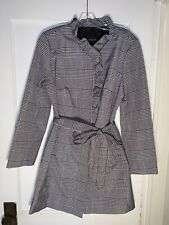 Talbots Glen Plaid Houndstooth Ruffle Trench black white Rain Coat sz 10  b190