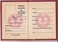 Dienstausweis Freiwillige Feuerwehr DDR Blanko Dokument Ausweis