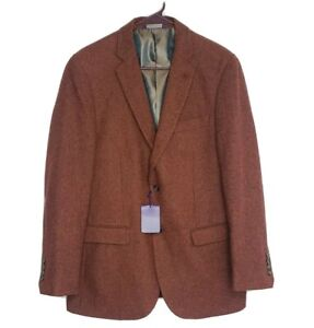 Alan Flusser Mens Rust Wool Blend Tweed Sports Coat Jacket Size Small NWT