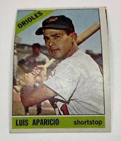 1966 Topps # 90 Luis Aparicio Baseball Card Baltimore Orioles HOF Miscut