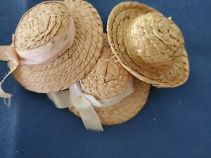 """Vintage Doll Straw Hat Lot of 3 fits 8"""" Ginny Ginger Muffie Virga Alex 1950's"""