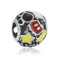 Fine Yellow Red Paint Macroporous Charms Bead For sterling Bracelet Chain