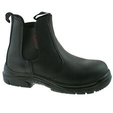 """MENS GRAFTERS BLACK LEATHER WIDE FITTING SAFETY DEALER BOOTS SIZE 6�€""""13 M9502A KD"""