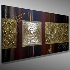 MODERNE MALEREI GOLD ORIGINAL Acrylbild Leinwand BILDER abstrakt MICO 100x50 3D