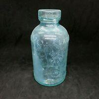 Vintage Mellin's Food Co.  Bottle Large Size Aqua Blue Boston