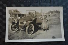 Vintage Car Photo Woman w/ 1914 Overland Touring 870