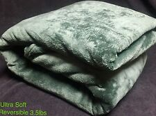 Ultra Soft Fluffy Plush Queen 2 In 1 D-Green & L-Brown Reversible Blanket 3.5lbs