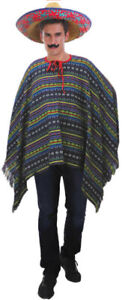 PREMIUM MEXICAN PONCHO Spanish Costume Wild West Cowboy Party Bandit New 12467