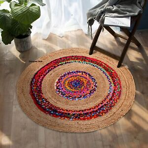 Rug Natural Jute and cotton reversible rustic look Dining area Home Decor rugs