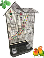 Large Double Roof Top Bird Flight Cage W/Toys Canary Aviary Cockatiel LoveBird