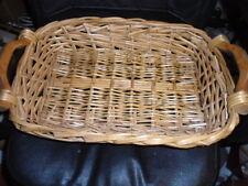 "Woven Wooden Handle Casserol Dish Holder Basket  22"" x  13.5""  Pyrex Tupperware"