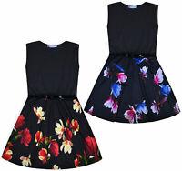 Girls Skater Dress Kids Black Party Summer Dresses Age 5 6 7 8 9 10 11 12 13 Yrs