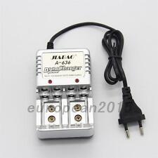 Travel Charger AC Wall AA AAA 9V Ni-Mh Ni-Cd Rechargeable Li-Ion Battery EU Plug
