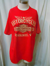 HARLEY DAVIDSON MOTOR CYCLE SIZE LARGE RED SHORT SLEEVE 100% COTTON T-SHIRT