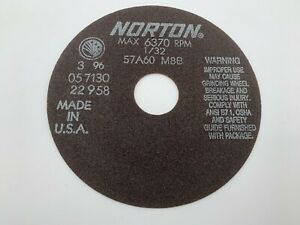"Norton 66252822958  6""X1/32""X1-1/4  57A60-M8B Non Reinforced Cutoff Wheel New"