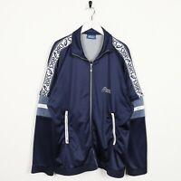 Vintage 90s Asics Piccolo Logo Nastro Braccio Pista Top Giacca Blu Grande a L