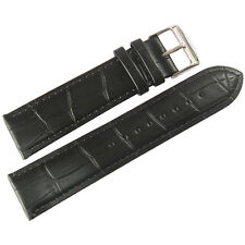 22mm Mens Fluco Made in Germany Black Crocodile-Grain Leather Watch Band Strap