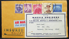 US Airmail ADV Cover Sneiders Pershing Monticello Stamp USA Lupo Brief (H-7411