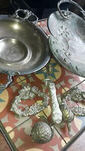Lot antique bronze tin art nouveau fruit dish metal & other ornaments old