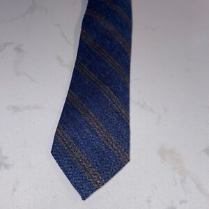 Alan Paine wool/silk blue with tan stripes necktie NWT Made in Italy
