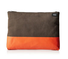 Brand New Jack Spade Dipped Industrial Canvas Bankers Envelope Olive/Orange