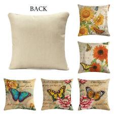 Retro Style Linen Cotton Cushion Cover Waist Throw Pillow Case Home So