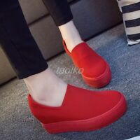 Womens Hidden Wedge Heels Loafers Slip On Shoes Casual Sneakers Spring Pumps sz@