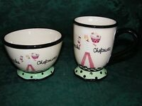 Certified International CHEFANISTA Pedestal Mug/Cup & Pedestal Bowl EUC