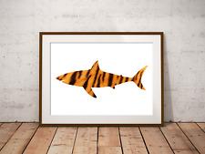Tiger Shark Art Print,Nautical Sea Decor, Bathroom Art, Marine Life, Shark Art