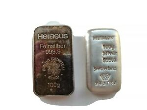 Group of 2 * 100g Fine Silver Bars.
