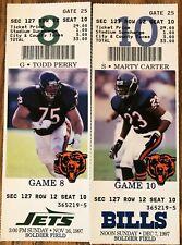 Chicago Bears Ticket Stub Lot of 2 MINT UNUSED season tickets LOOK BILLS JETS